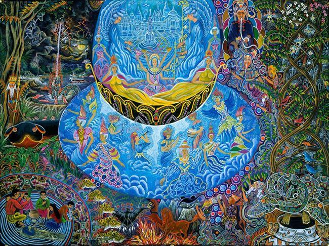 "Image Credit: <a href=""https://kahpi.net/ayahuasca-visions-artist-pablo-amaringo/"">Pablo Amaringo</a>"