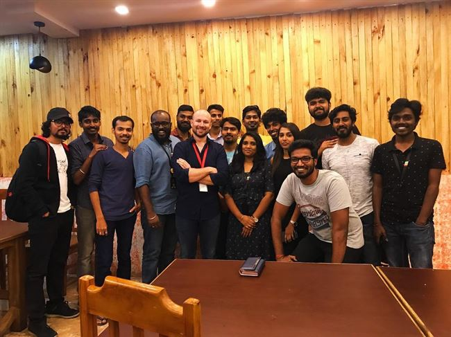 With the Zoho team in Chennai at my farewell dinner.